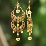 Yellow Antique Brass Filigree Beade..