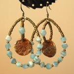 Aqua hoops with handmade copper cha..