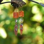 Copper Rectangle and leaf earrings ..