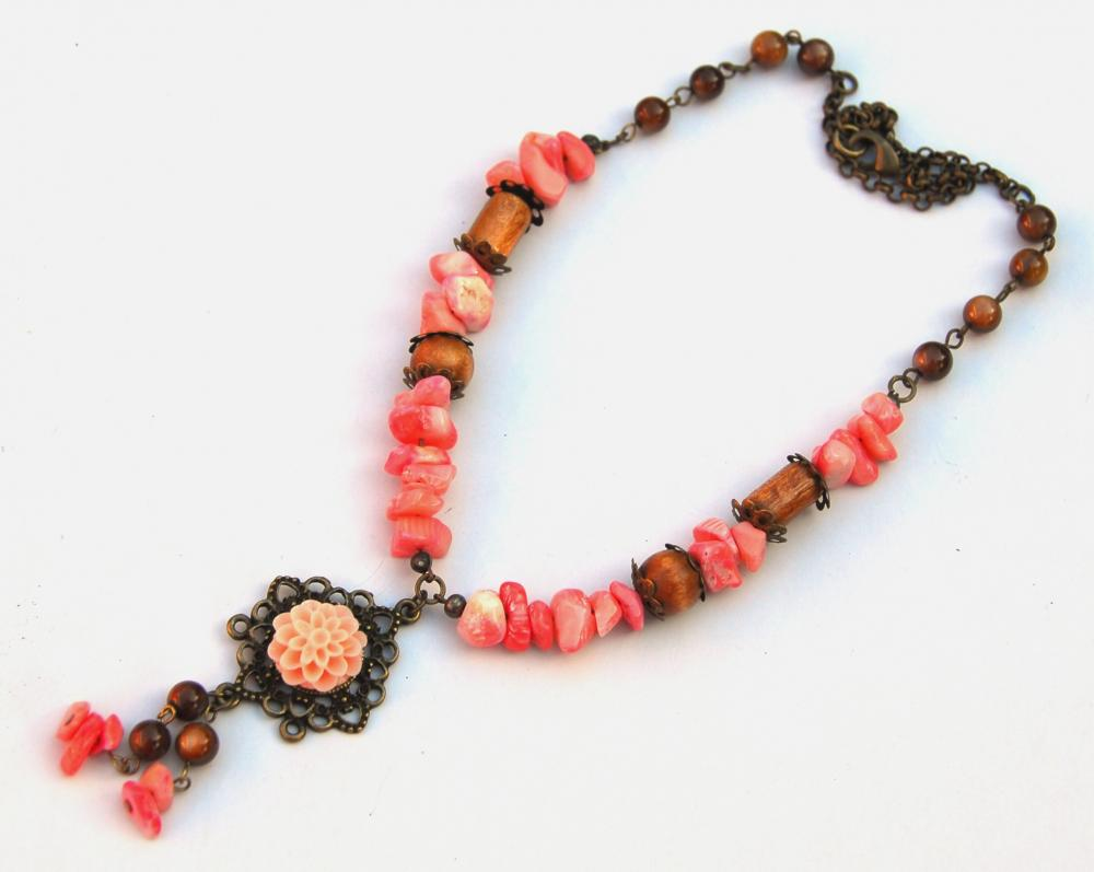 Pink Coral and Shell Necklace Handmade by Kashmira Patel