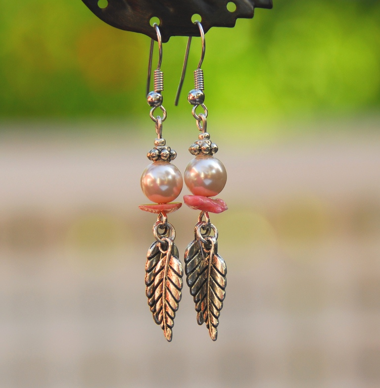 Delicate Pink/Coral Earrings by Kashmira Patel