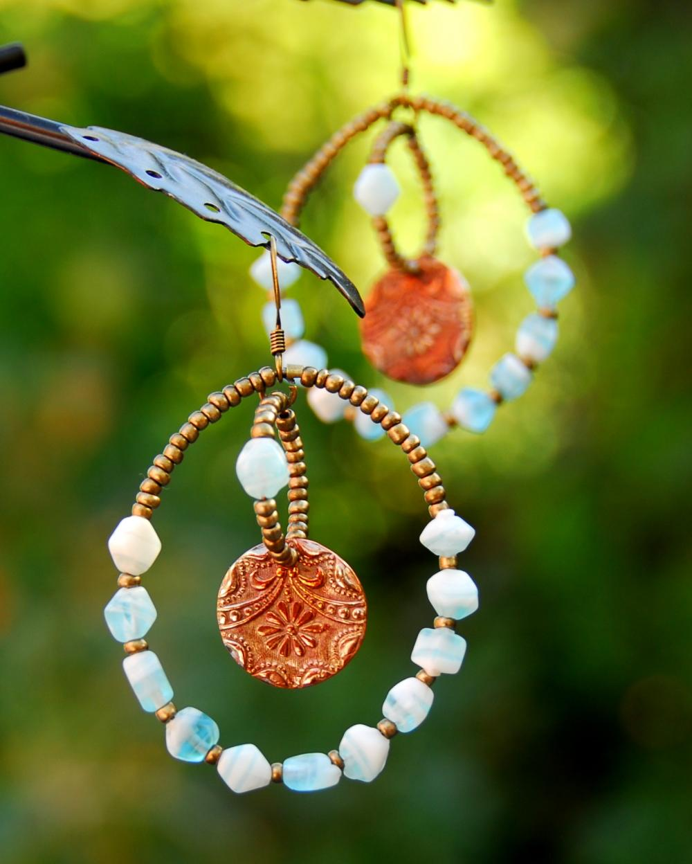 Aqua hoops with handmade copper charms