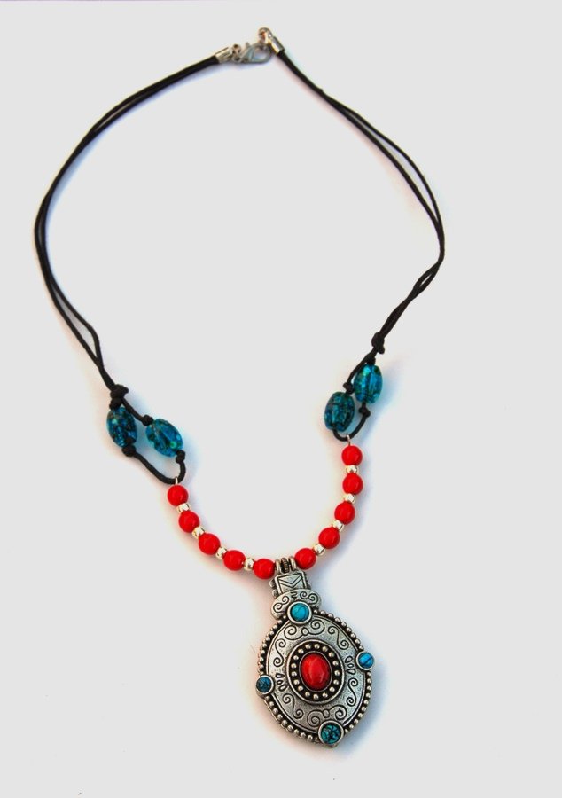 Red/Turquoise/Silver Bohemian Necklace