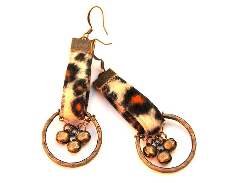 Wild Spots: Leopard Print Antique Brass Hoop Earrings with Bells