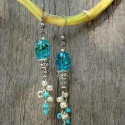Icecream Cone Earrings - Turquoise Silver