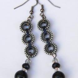 Pretty Black and White Beaded Earrings