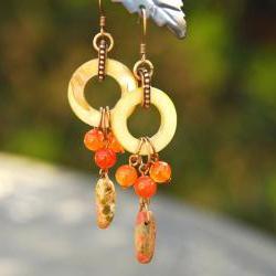 Orange Green Shell Earrings