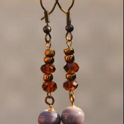 Brown and Purple Ceramic Earrings by Kashmira Patel