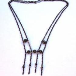 Delicate Black/Gunmetal Chain Necklace by Kashmira Patel