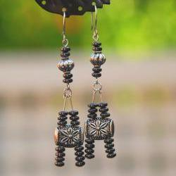 """Silver and Gunmetal """"Eiffel Tower"""" Earrings by Kashmira Patel"""