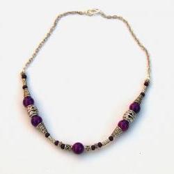Bali Silver and Purple choker necklace