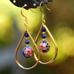 Gold and Blue Cloisonne Teardrop Earrings